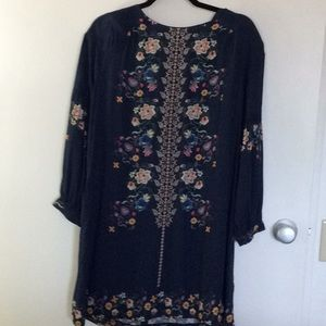ZARA NAVY BLUE FLOWERED DRESS
